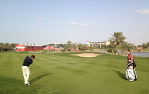 View of clubhouse abu dhabi golf club, abu dhabi, united arab emirates