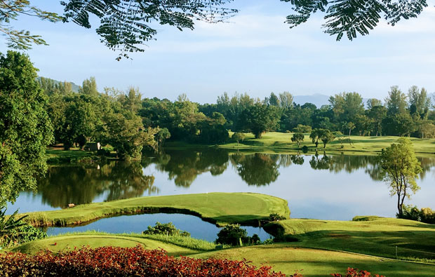 14th green blue canyon country club, canyon course, phuket