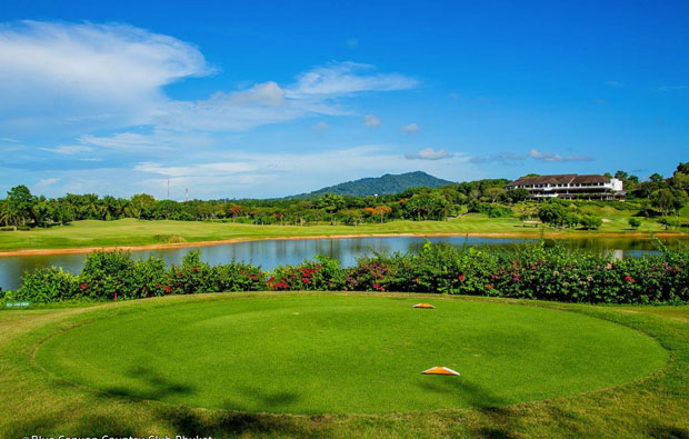 view from 17th tee, blue canyon country club, canyon course, phuket