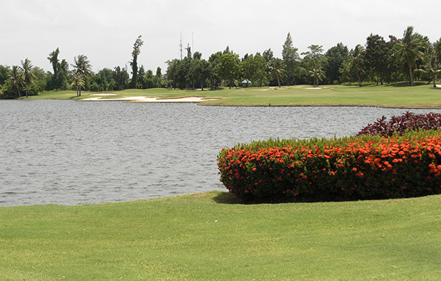 lake at lakewood country club, bangkok, thailand