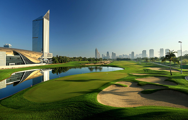 18th hole, emirates golf club faldo course, dubai, united arab emirates