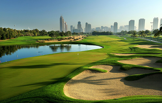 18th, emirates golf club faldo course, dubai, united arab emirates