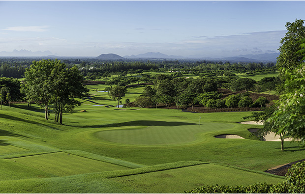 The 15th green at Black Mountain Golf Club in Hua Hin
