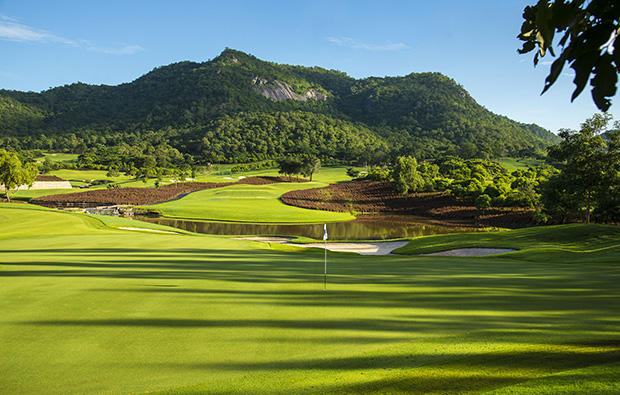 The 8th green at Black Mountain Golf Club in Hua Hin