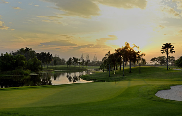 sunset at lotus valley golf club, bangkok, thailand