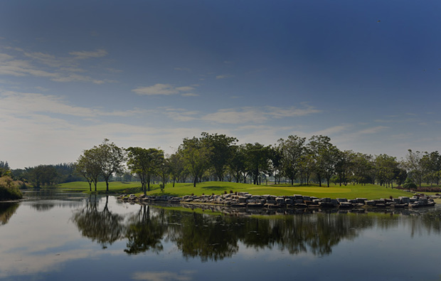 lake at lotus valley golf club, bangkok, thailand