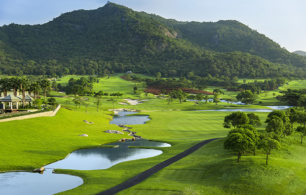 The 10th hole from tee box  at Black Mountain Golf Club in Hua Hin