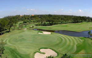 aerial view of green, muang kaew golf club, bangkok, thailand
