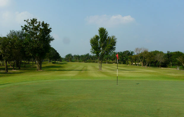 looking back from green, pattavia century golf club, pattaya, thailand