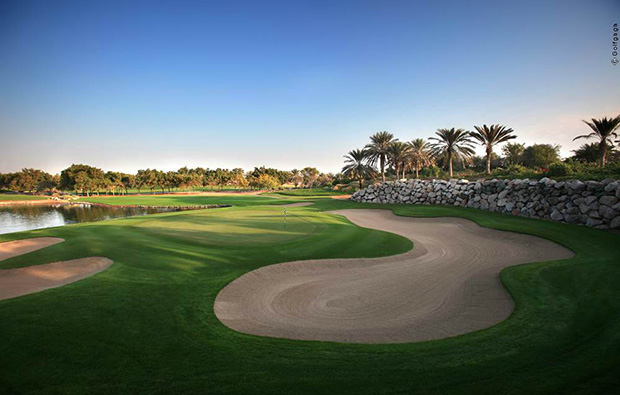 the 12th hole at abu dhabi golf club, abu dhabi, united arab emirates