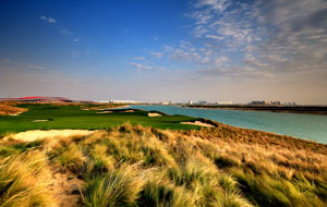 view to ferrari world, yas island links, abu dhabi, united arab emirates