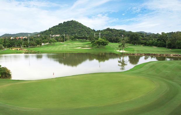 water hazard at laem chabang international country club, pattaya, thailand