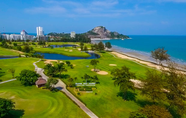 Aerial View sea pines golf course, hua hin, thailand