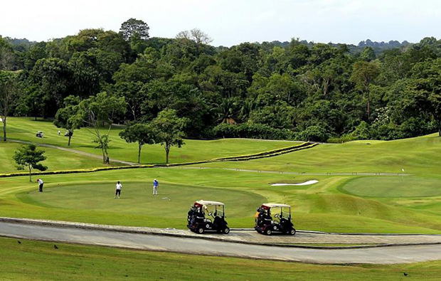 magnificent landscape of the golf course at keppel club, singapore