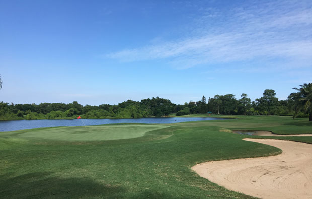 view from behind green at lakewood country club, bangkok, thailand